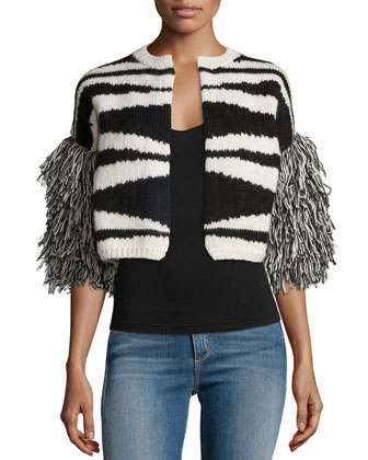 Pilar Fringe-Sleeve Cropped Sweater, Black/Ivory