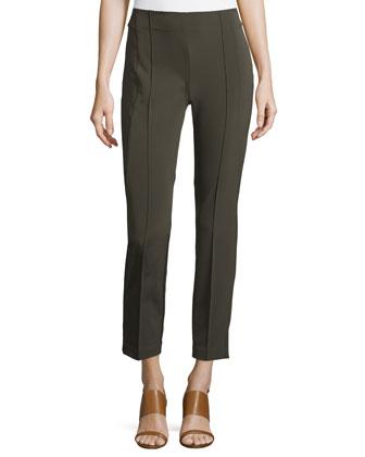 City Slim Pintucked Pants, Black, Women's