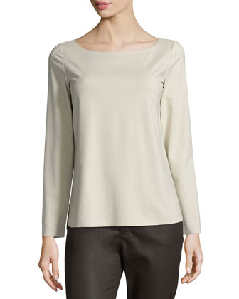 Long-Sleeve Round-Neck Tee, Khaki, Women's