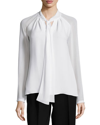 Louise Tie-Neck Silk Blouse, Women's