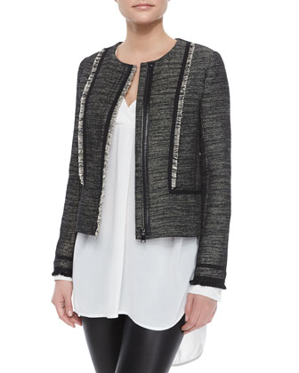 Fringe-Trim Boucle Jacket, Long-Sleeve V-Neck Sheer Top & Smooth Leather ...