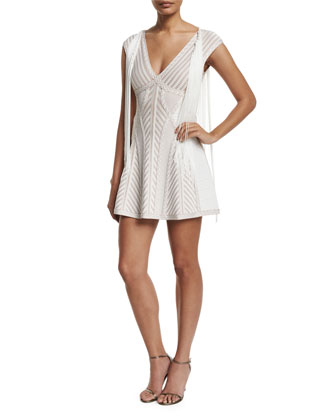 Cap-Sleeve Jacquard Flounce Dress W/Fringe, Alabaster