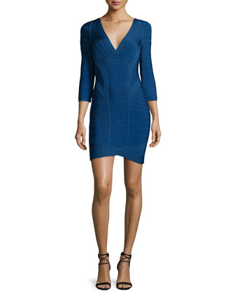 3/4-Sleeve Bandage Dress, Royal Blue