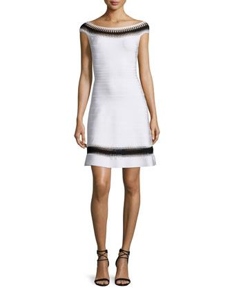 Off-The-Shoulder Crochet-Inset Dress, Alabaster Combo