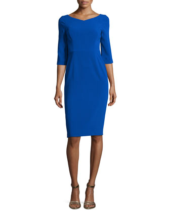 3/4-Sleeve V-Neck Sheath Dress