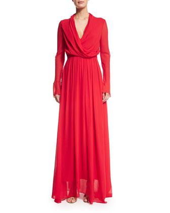 Long-Sleeve Blouson Crinkled Gown