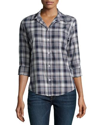 Barry Button-Front Plaid Shirt, Blue