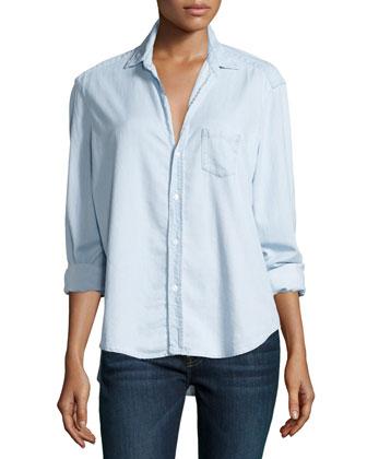 Eileen Button-Front Chambray Shirt, Blue