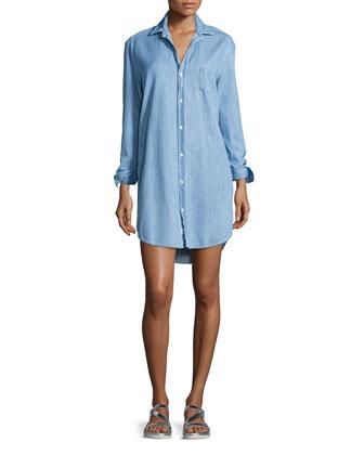 Mary Long-Sleeve Chambray Shirtdress, Blue
