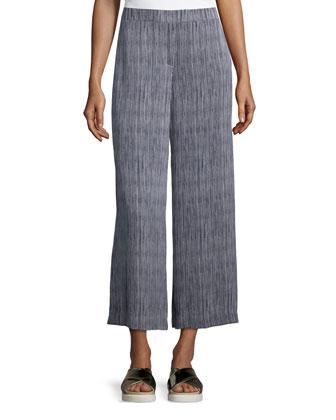 Tolleree B Short-Sleeve Cashmere Sweater & Raoka Olina Striped Culottes