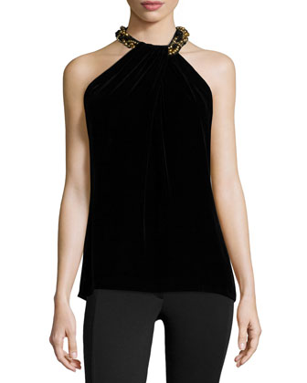 Beaded-Neck Toga Velvet Top