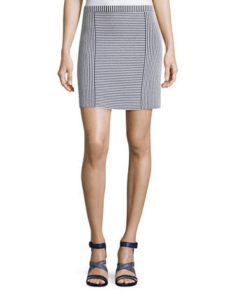 Teslia Geometric-Striped Knit Skirt