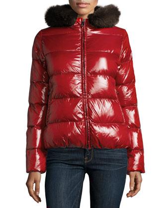 Adhara Fur-Trim Hooded Short Puffer Jacket