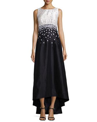 Sleeveless Embellished Crisscross-Back Gown