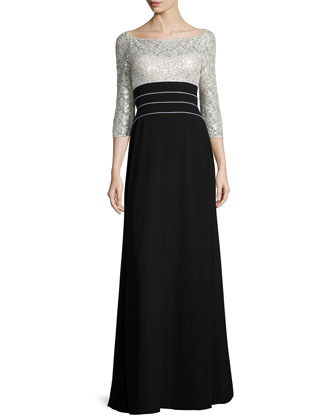 3/4-Sleeve Sequined Bodice Combo Gown