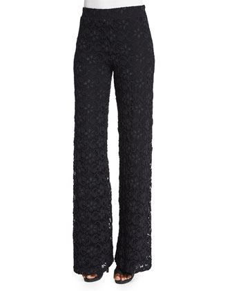 Dixie-Lace High-Waist Trousers, Black
