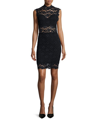 Dixie-Lace Sleeveless Sheath Dress, Black