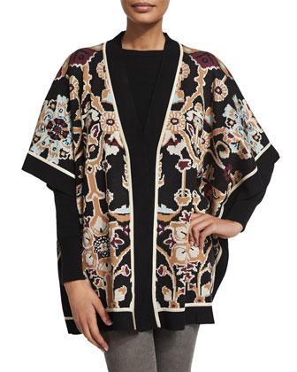 Rabina Tapestry-Print Kimono, Black