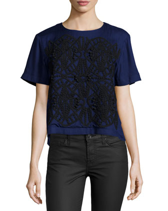 Ashton Embroidered Shell Top, Midnight/Black