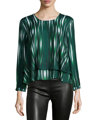 Striped Long-Sleeve Top, Olive