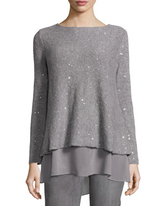 Embellished Layered-Hem Sweater, Women's