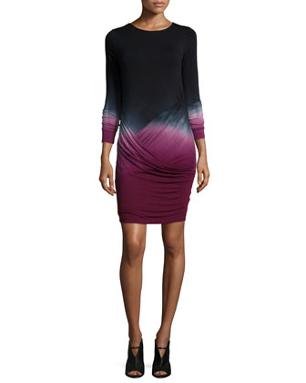 Audrina Drape-Front Dress, Cranberry Ombre