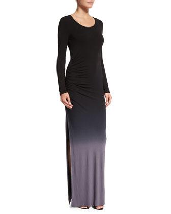 Blais Long-Sleeve Ombre Maxi Dress, Gray Ombre