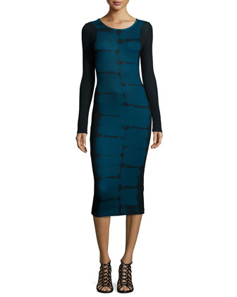 Myra Tiger-Wash Long-Sleeve Midi Dress, Navy