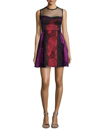 Sleeveless Illusion Fit & Flare Dress