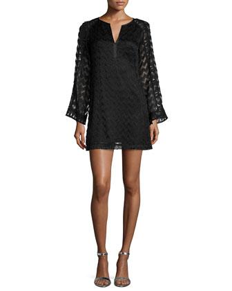 Long-Sleeve Lace A-line Dress