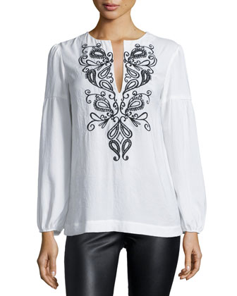 Long-Sleeve Embroidered Peasant Blouse