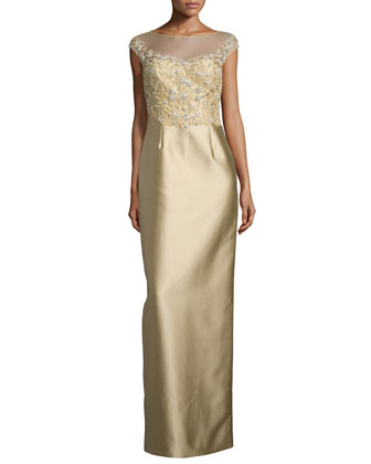 Cap-Sleeve Lace-Bodice Column Gown