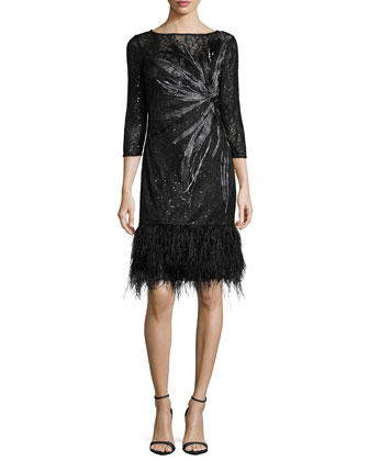 3/4-Sleeve Lace Cocktail Dress with Feather Hem