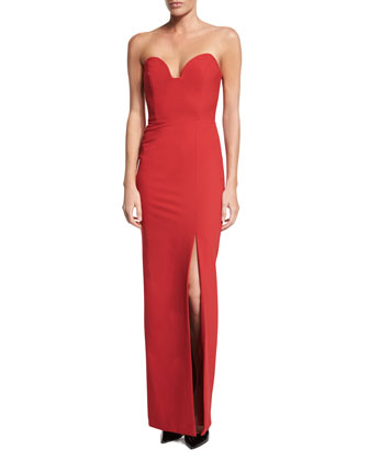 Strapless Sweetheart Column Gown with Slit