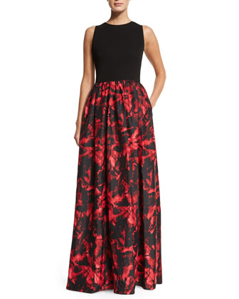 Sleeveless Combo Printed Gown, Black/Red