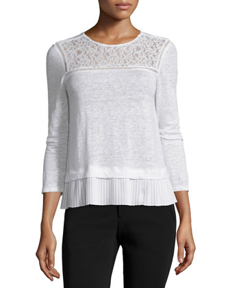 Lace-Trim Linen Top, Snow