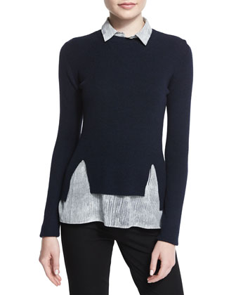 Long-Sleeve Sweater W/ Striped Blouse Combo