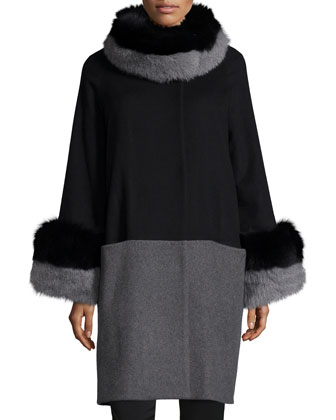 Cashmere Colorblock Coat with Fur Trim