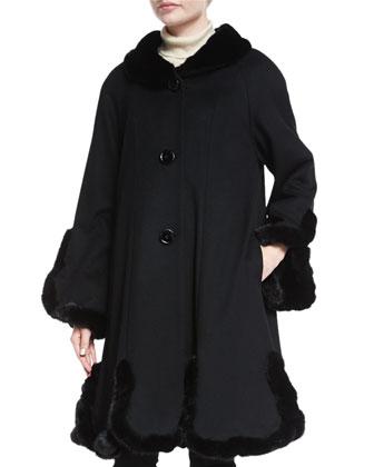 Cashmere A-line Coat with Mink Trim