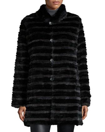 Two-Tone Rabbit Fur Reversible Coat