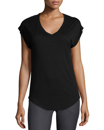 Rolled-Sleeve V-Neck Tee