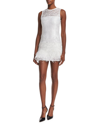 Lizzy Sleeveless Feather-Trim Lace Dress, White