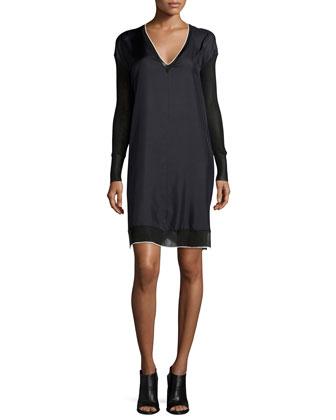 Maude Silk Long-Sleeve Dress, Caviar