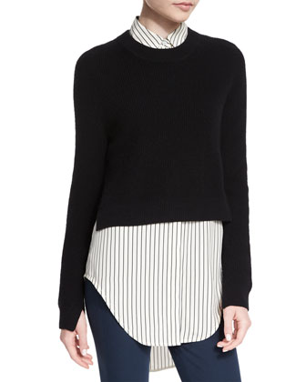 Nightingale Striped Long Shirt, Black/White