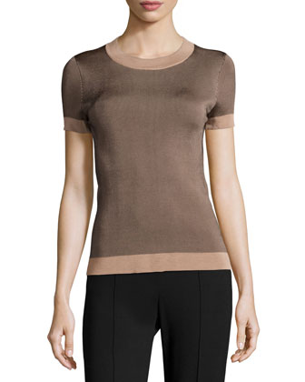 Lelia Short-Sleeve Crewneck Ribbed Top