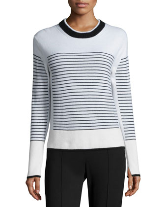 Masie Striped Crewneck Cashmere Sweater, Ivory