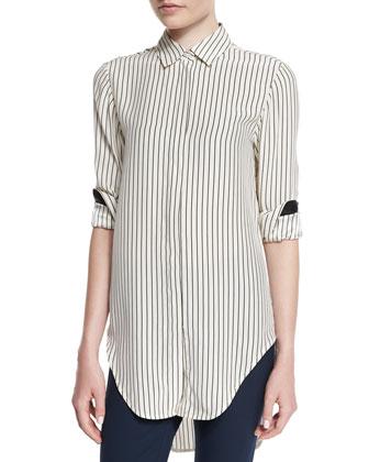 Nightingale Striped Long Shirt, Black/White