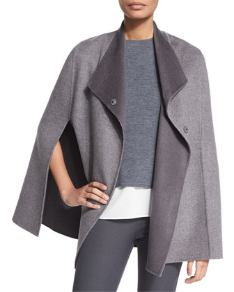 Cashmere-Blend Double Face Cape, Smoke