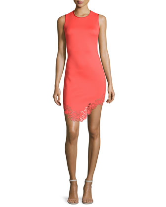 Sleeveless Laser-Cut Sheath Dress, Red