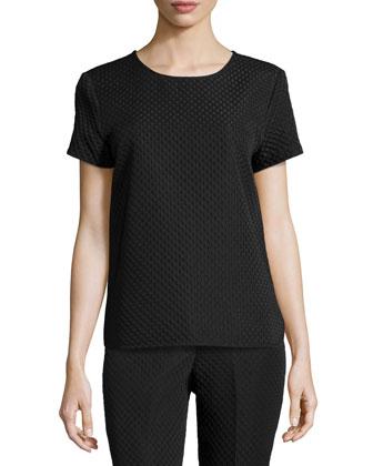 Short-Sleeve Textured Top, Black